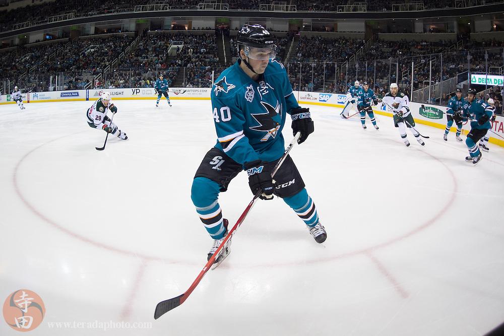 December 12, 2015; San Jose, CA, USA; San Jose Sharks center Ryan Carpenter (40) skates during the first period against the Minnesota Wild at SAP Center at San Jose. The Wild defeated the Sharks 2-0.
