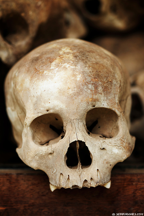 Human skulls sit inside a commemorative stupa at the Killing Fields Museum outside of Phnom Penh, Cambodia.