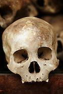 Human skulls sit inside a commemorative stupa at the Killing Fields Museum outside of Phnom Penh, Cambodia.