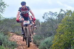 WORCESTER, SOUTH AFRICA - MARCH 21: HB Kruger during stage three's 122km from Robertson to Worcester on March 21, 2018 in Cape Town, South Africa. Mountain bikers from across South Africa and internationally gather to compete in the 2018 ABSA Cape Epic, racing 8 days and 658km across the Western Cape with an accumulated 13 530m of climbing ascent, often referred to as the 'untamed race' the Cape Epic is said to be the toughest mountain bike event in the world. (Photo by Dino Lloyd)