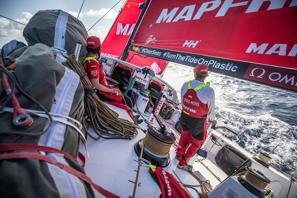 Leg 02, Lisbon to Cape Town, day 08, on board MAPFRE, Tamara Echegoyen y Antonio Cuervas-Mons durante su guardia. Photo by Ugo Fonolla/Volvo Ocean Race. 12 November, 2017
