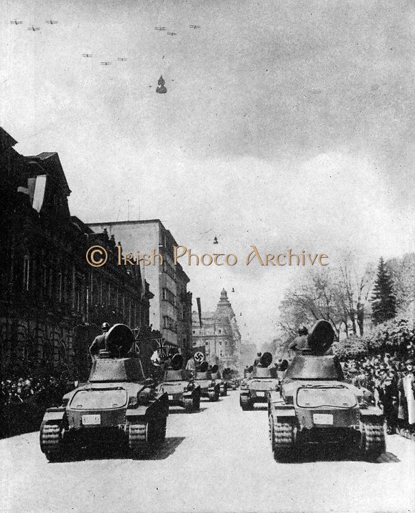 Capital of Bulgaria, Sofia, late May 1940, showing streets dressed with both Axis and Allied flags for a Bulgarian national festival.