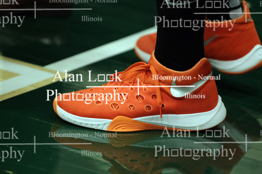 17 November 2015:  Orange Nike basketball shoe. during an NCAA men's division 3 CCIW basketball game between the Greenville College Panthers and the Illinois Wesleyan Titans in Shirk Center, Bloomington IL This image available for EDITORIAL USE ONLY. A release may be required. Additional information by contacting alook at alanlook.com