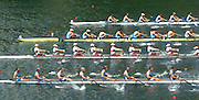 2004 FISA World Cup Regatta Lucerne Switzerland. 18.06.04..Photo Peter Spurrier.Start of a heat of the men's eights [top to bottom] France, Italy, Canada and  Great Britain.[left to right] Tom Stallard, Dan Ouseley, Jonno Devlin, Andrew Hodge, Josh West, Phil Simmons, Ed Coode and Tom James cox Christian Comack. Rowing Course, Lake Rottsee, Lucerne, SWITZERLAND. [Mandatory Credit: Peter Spurrier: Intersport Images]