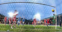 Aberdeen's keeper Scott Brown can't stop St Johnstone's Thomas Scobbie scoring their third goal. <br /> St Johnstone 3 v 4Aberdeen, SPFL Ladbrokes Premiership played 6/2/2016 at McDiarmid Park, Perth.