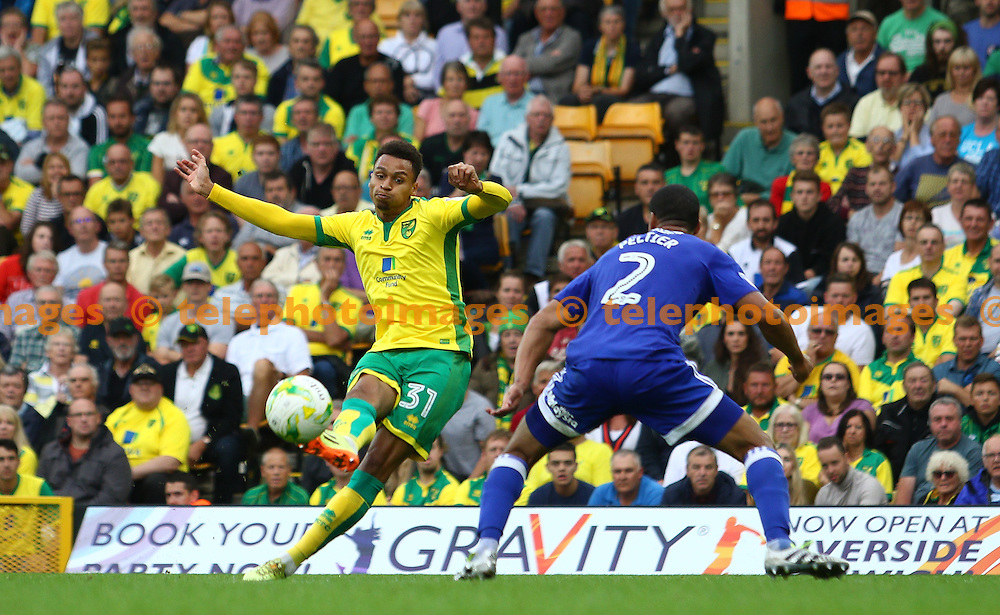 Josh Murhpy of Norwich City scores to make it 3-1 during the Sky Bet Championship match between Norwich City and Cardiff City at Carrow Road in Norwich. September 10, 2016.<br /> Arron Gent / Telephoto Images<br /> +44 7967 642437