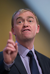 © Licensed to London News Pictures . 07/10/2014 . Glasgow , UK . TIM FARRON , President of the Liberal Democrats and MP for Westmorland and Lonsdale , delivers his speech to the conference . The Liberal Democrat Party Conference 2014 at the Scottish Exhibition and Conference Centre in Glasgow . Photo credit : Joel Goodman/LNP