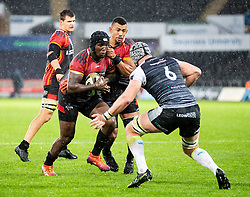 Thembelani Bholi of Southern Kings lines up Dan Lydiate of Ospreys<br /> <br /> Photographer Simon King/Replay Images<br /> <br /> Guinness PRO14 Round 6 - Ospreys v Southern Kings - Saturday 9th November 2019 - Liberty Stadium - Swansea<br /> <br /> World Copyright © Replay Images . All rights reserved. info@replayimages.co.uk - http://replayimages.co.uk