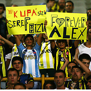 "Fenerbahce's supporters showing ""Forever Alex"" poster during their Turkish superleague soccer match S.B. Elazigspor between Fenerbahce at the Ataturk stadium in izmir Turkey on Saturday 18 August 2012. Photo by TURKPIX"