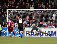 Photo: Mark Stephenson/Richard Lane Photography. <br /> Scunthorpe United v Cardiff City. Coca-Cola Championship. 19/04/2008. Scunthorpe's Paul Hayes scores a penalty for 3-2 and the win