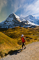 Hiking in the Swiss Alps from Mannlichen to Kleine Scheidegg, Canton Bern, Switzerland