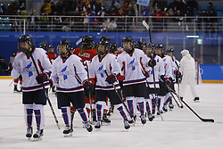 February 18, 2018 - Pyeongchang, KOREA - Korea shakes hands with Switzerland after a hockey game between Switzerland and Korea during the Pyeongchang 2018 Olympic Winter Games at Kwandong Hockey Centre. Switzerland beat Korea 2-0. (Credit Image: © David McIntyre via ZUMA Wire)