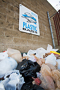 Plastic bags in a recycling bin, Santa Monica, Los Angeles, California, USA