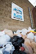 Plastic bags in a recycling bin, Santa Monica, Los Angeles, California, USA