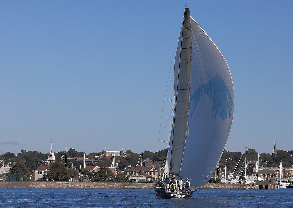 Interlodge sails to the finish with Newport in the background at the 9th Annual Sail for Hope event in Newport, RI.