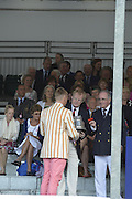 Henley, GREAT BRITAIN. [The Double Sculls Challenge Cup ]  Leander Club, collect, their Trophy,  from, left, The Rt. Hon. The Lord Mayor of London. Alderman David WOTTON at 2012 Henley Royal Regatta...Sunday  18:00:50  01/07/2012. [Mandatory Credit, Peter Spurrier/Intersport-images]...Rowing Courses, Henley Reach, Henley, ENGLAND . HRR.