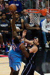 March 10, 2018 - Los Angeles, CA, U.S. - LOS ANGELES, CA - MARCH 10: LA Clippers center DeAndre Jordan (6) tips a shot to the basket during the game between the Orlando Magic and the LA Clippers on March 10, 2018, at STAPLES Center in Los Angeles, CA. (Photo by David Dennis/Icon Sportswire) (Credit Image: © David Dennis/Icon SMI via ZUMA Press)
