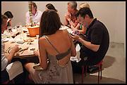 OLIVIA COLE; MARK WALLINGER;  Matt's Gallery 35th birthday fundraising supper.  42-44 Copperfield Road, London E3 4RR. 12 June 2014.