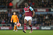 Alex Song of West Ham United wearing eye glasses passing the ball. The Emirates FA cup, 3rd round match, West Ham Utd v Wolverhampton Wanderers at the Boleyn Ground, Upton Park  in London on Saturday 9th January 2016.<br /> pic by John Patrick Fletcher, Andrew Orchard sports photography.