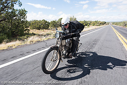 Dean Bordigioni of California riding his Class-1 single-cylinder single-speed 1914 Harley-Davidson during the Motorcycle Cannonball Race of the Century. Stage-12 ride from Page, AZ to Williams, AZ. USA. Thursday September 22, 2016. Photography ©2016 Michael Lichter.
