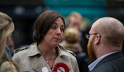 Pictured: Kezia Dugdale is interviewed by the media<br /> <br /> Scottish Labour leader, Kezia Dugdale began her Party's Holyrood election campaign by joining supporters at a street stall in Morningside in Edinburgh today. She was joned by local candidate Daniel Johnston<br /> <br />  Ger Harley | EEm 23 March 2016