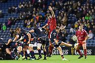 Henry Pyrgos kicks clear during the Guinness Pro 14 2018_19 match between Edinburgh Rugby and Scarlets at BT Murrayfield Stadium, Edinburgh, Scotland on 2 November 2018.