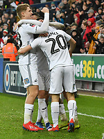 Football - 2018 / 2019 Emirates FA Cup - Fourth Round: Swansea City vs. Gillingham<br /> <br /> Leroy Fer of Swansea City celebrates scoring his team's fourth goal, at Liberty Stadium.<br /> <br /> COLORSPORT/WINSTON BYNORTH