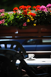 Flowers surrounding a cafe in Molshiem, Alsace, France<br /> <br /> (c) Andrew Wilson | Edinburgh Elite media
