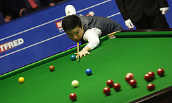 BRITAIN-SHEFFIELD-SNOOKER-WORLD CHAMPIONSHIP-QUARTERFINAL..(180502) -- SHEFFIELD (BRITAIN), May 2, 2018   Ding Junhui of China competes during his quarter final match with Barry Hawkins of England at the World Snooker Championship 2018 at the Crucible Theatre in Sheffield, Britain on May 2, 2018. (Credit Image: © Craig Brough/Xinhua via ZUMA Wire)