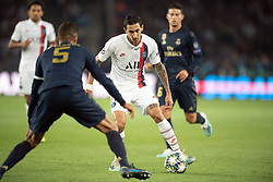 Angel Di Maria of PSG and Raphael Varane of Real Madrid in action during the UEFA Champions League Raphael Varane Paris Saint Germain and Real Madrid at Parc des Princes on September 18, 2019 in Paris, France<br /> Photo by David Niviere/ABACAPRESS.COM