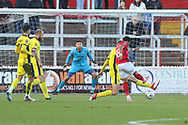 Corey Whitely shoots on target  during the The FA Cup 1st round match between Ebbsfleet and Cheltenham Town at Stonebridge Road, Ebsfleet, United Kingdom on 10 November 2018.