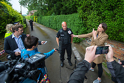 © Licensed to London News Pictures. 30/05/2018. Aldborough, UK. Super Intendant Dave Hannan brief's media at the site of a helicopter crash in Aldborough. Emergency services attend the scene of a helicopter crash near the village of Aldborough. Photo credit: Andrew McCaren/LNP