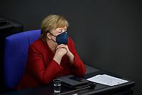 25 AUG 2021, BERLIN/GERMANY:<br /> Angela Merkel, CDU, Bundeskanzlerin, waehrend der Debatte zur Lage in Afghanistan, Bundeswehreinsatz zur Evakuierung aus Afghanistan, Plenum, Reichstagsgebaeude, Deutscher Bundestag<br /> IMAGE: 20210825-01-047<br /> KEYWORDS: Maske. Mundschutz, Corvid-19, Corona, muede, müde
