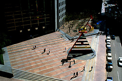 Stock photo of the colorful Miró sculpture at Pennzoil Place in downtown Houston