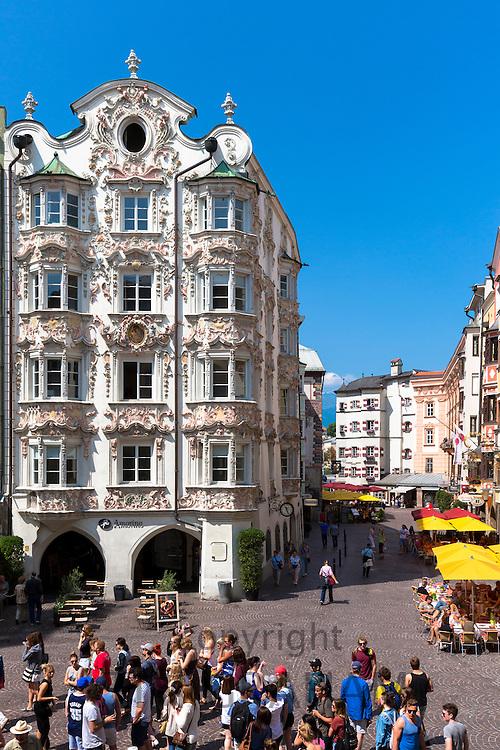 Tourists by the Holblinghaus in Herzog Friedrich Strasse, Innsbruck the Tyrol Austria