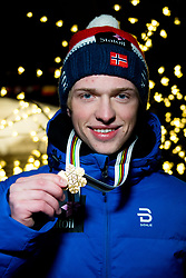 January 31, 2018 - Goms, SWITZERLAND - 180131 Jon Rolf Skamo Hope of Norway poses with the gold medal for the men's 10km classic technique interval start during the FIS Nordic Junior World Ski Championships on January 31, 2018 in Gluringen..Photo: Vegard Wivestad GrÂ¿tt / BILDBYRN / kod VG / 170092 (Credit Image: © Vegard Wivestad Gr¯Tt/Bildbyran via ZUMA Press)