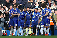 Eden Hazard of Chelsea © celebrates with his teammates after scoring his sides 2nd goal. Premier league match, Chelsea v Arsenal at Stamford Bridge in London on Saturday 4th February 2017.<br /> pic by John Patrick Fletcher, Andrew Orchard sports photography.