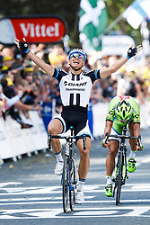 Marcel Kittel of Germany and Team Giant-Shimano wins the sprint across the line in Harrogate to win Stage 1 of the Tour de France, with home favourite Mark Cavendish haven taken a fall in the closing stages - Photo mandatory by-line: Rogan Thomson/JMP - 07966 386802 - 05/07/2014 - SPORT - CYCLING - Harrogate, North Yorkshire - Le Tour de France Grand Depart Stage 1, Leeds to Harrogate.