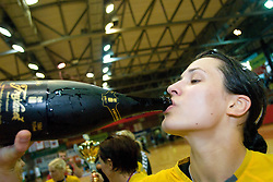 Andreja Lekic celebrates at the Final handball game of the Slovenian Women handball Championship between RK Krim Mercator and RK Olimpija when Krim Mercator won the Championship and became Slovenian National Champion, on May 23, 2009, Kodeljevo, Ljubljana, Slovenia.  (Photo by Klemen Kek / Sportida)