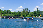 """Henley on Thames, United Kingdom, 22nd June 2018, Friday,   """"Henley Women's Regatta"""",  view, A heat of the Championship, Double Scull W2X, gets, underway, between  Leander Club [L], and, """"Cork RC. Ireland"""",  Henley Reach, Thames Valley,River Thames, England, © Peter SPURRIER/Alamy Live News"""