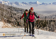 Ski touring on Hornet Mountain in the Flathead National Forest, Montana, USA model released
