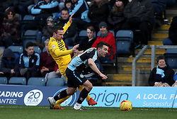 Matthew Bloomfield of Wycombe Wanderers is put under pressure by Liam Lawrence of Bristol Rovers - Mandatory byline: Robbie Stephenson/JMP - 27/02/2016 - FOOTBALL - Adams Park - Wycombe, England - Wycombe Wanderers v Bristol Rovers - Sky Bet League Two