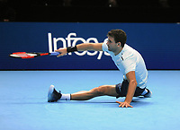 Tennis - 2017 Nitto ATP Finals  at The 02 - Day four, Wednesday <br /> <br /> Grigor Dimitrov  v David Goffin <br /> <br /> Grigor Dimitrov (Bul) slips on the surface<br /> <br /> COLORSPORT/ANDREW COWIE
