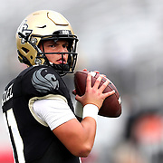 ORLANDO, FL - NOVEMBER 21: Dillon Gabriel #11 of the Central Florida Knights warms up against the Cincinnati Bearcats at Bounce House-FBC Mortgage Field on November 21, 2020 in Orlando, Florida. (Photo by Alex Menendez/Getty Images) *** Local Caption ***  Dillon Gabriel