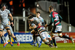 Sam Dugdale of Sale Sharks is tackled by Tom Youngs, captain of Leicester Tigers, making his 200th appearance for the club  - Mandatory by-line: Nick Browning/JMP - 29/01/2021 - RUGBY - Mattioli Woods Welford Road - Leicester, England - Leicester Tigers v Sale Sharks - Gallagher Premiership Rugby