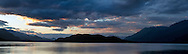 Sunset panorama over Harrison Lake, the Coast Range and Echo Island from Harrison Hot Springs, British Columbia, Canada