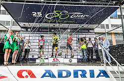 Second placed Rigoberto Uran of Team EF Education Cannondale, winner Primoz Roglic of Team Lotto NL Jumbo and third placed Matej Mohoric of Bahrain Merida in Overall classification celebrate during trophy ceremony after the 5th Time Trial Stage of 25th Tour de Slovenie 2018 cycling race between Trebnje and Novo mesto (25,5 km), on June 17, 2018 in  Slovenia. Photo by Vid Ponikvar / Sportida