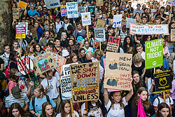 London, UK. 20 September, 2019. Thousands of students and climate campaigners take part in the second Global Climate Strike in protest against a lack of urgent action by the UK Government to combat the global climate crisis.