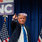 CHARLOTTE, NC - August 24:  President Donald Trump speaks to delegates at the 2020 Republican National Convention inside the Charlotte Convention in uptown Charlotte on August 24, 2020. The 1 day, in person convention began Monday afternoon and will end the same day after the party official re-nominates President Donald Trump and Vice President Mike Pence. The rest of the convention will go virtual. (Photo by Logan Cyrus for AFP)