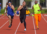 West Point, New York - Army's Michael Kacer, center, wins  his heat of the 100-meters at the 2014 Army Warrior Trials at the United States Military Academy Preparatory School on Tuesday, June 17, 2014.<br />  Hosted by the U.S. Army Warrior Transition Command (WTC), the trials determine which athletes will compete at the 2014 Warrior Games this fall in Colorado Springs, Colorado.